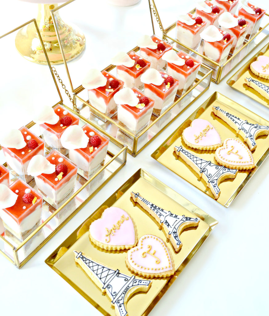 Pink and Gold Paris Themed Bridal Shower Cake Table Dessert Cookies Cherie Kelly London