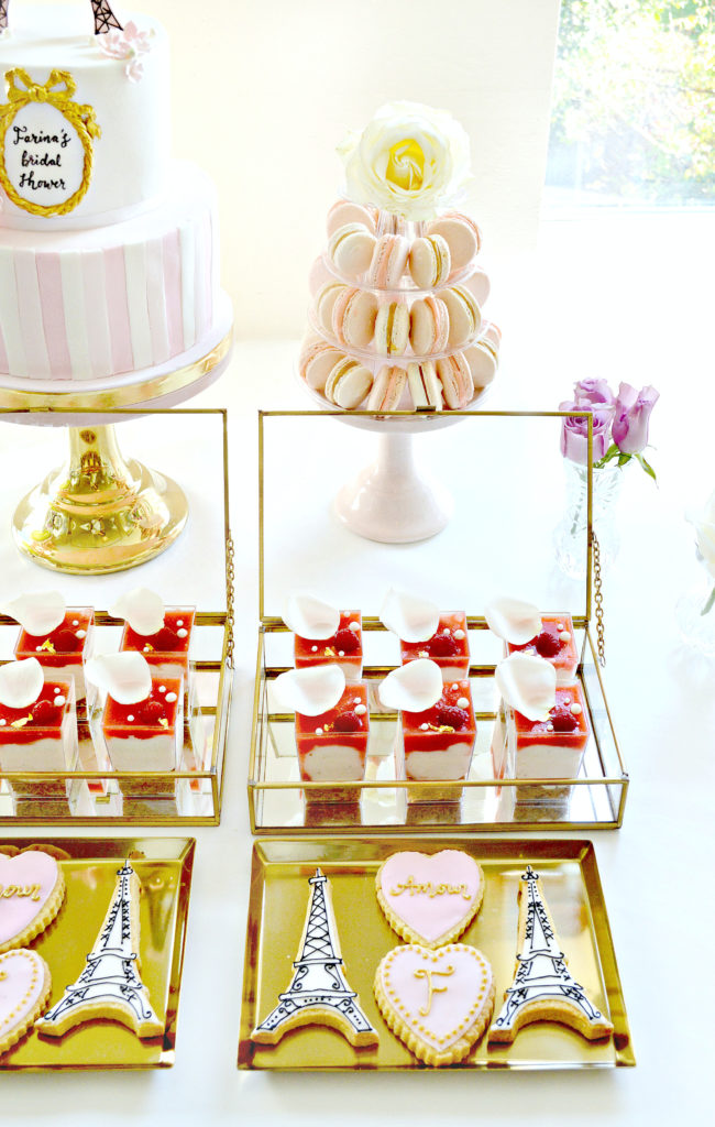 Pink and Gold Paris Themed Bridal Shower Cake Table Macarons Tower Cherie Kelly London