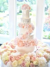 Luxury Blush Pink and White Wedding Flowers and Cake at Hunton Park 6 Tier Peony, Roses and Hydrangeas Cascade Open Stack with Monogram Lace Wedding Cake and Floral Cake Table Cherie Kelly Cake London
