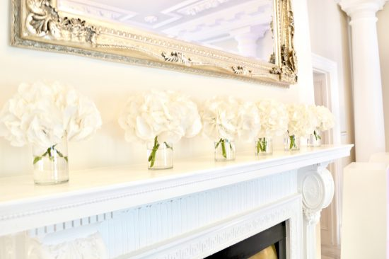 Luxury Blush Pink and White Wedding Flowers and Cake at Hunton Park Fireplace Hydrangeas Cherie Kelly Cakes