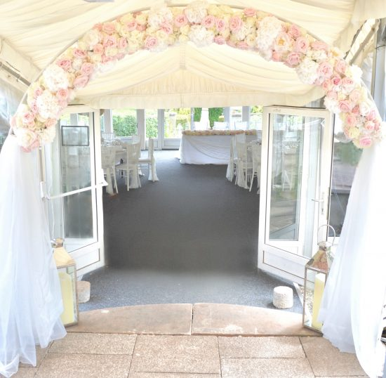 Luxury Blush Pink and White Wedding Flowers and Cake at Hunton Park Peony Hydrangeas and Roses Flower Arch with Drapes Cherie Kelly Cake London