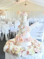 Luxury Blush Pink and White Wedding Flowers and Cake at Hunton Park Peony Hydrangeas and Roses Tall Vase Centrepieces with Crystals and Floral Chandelier Cherie Kelly 6 Tier Wedding Cake London