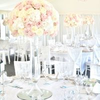 Luxury Blush Pink and White Wedding Flowers and Cake at Hunton Park Peony Hydrangeas and Roses Tall Vase Centrepieces with Crystals and Floral Chandelier Cherie Kelly Cake London (2)