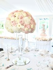 Luxury Blush Pink and White Wedding Flowers and Cake at Hunton Park Peony Hydrangeas and Roses Tall Vase Centrepieces with Crystals and Floral Chandelier Cherie Kelly Cake London 7