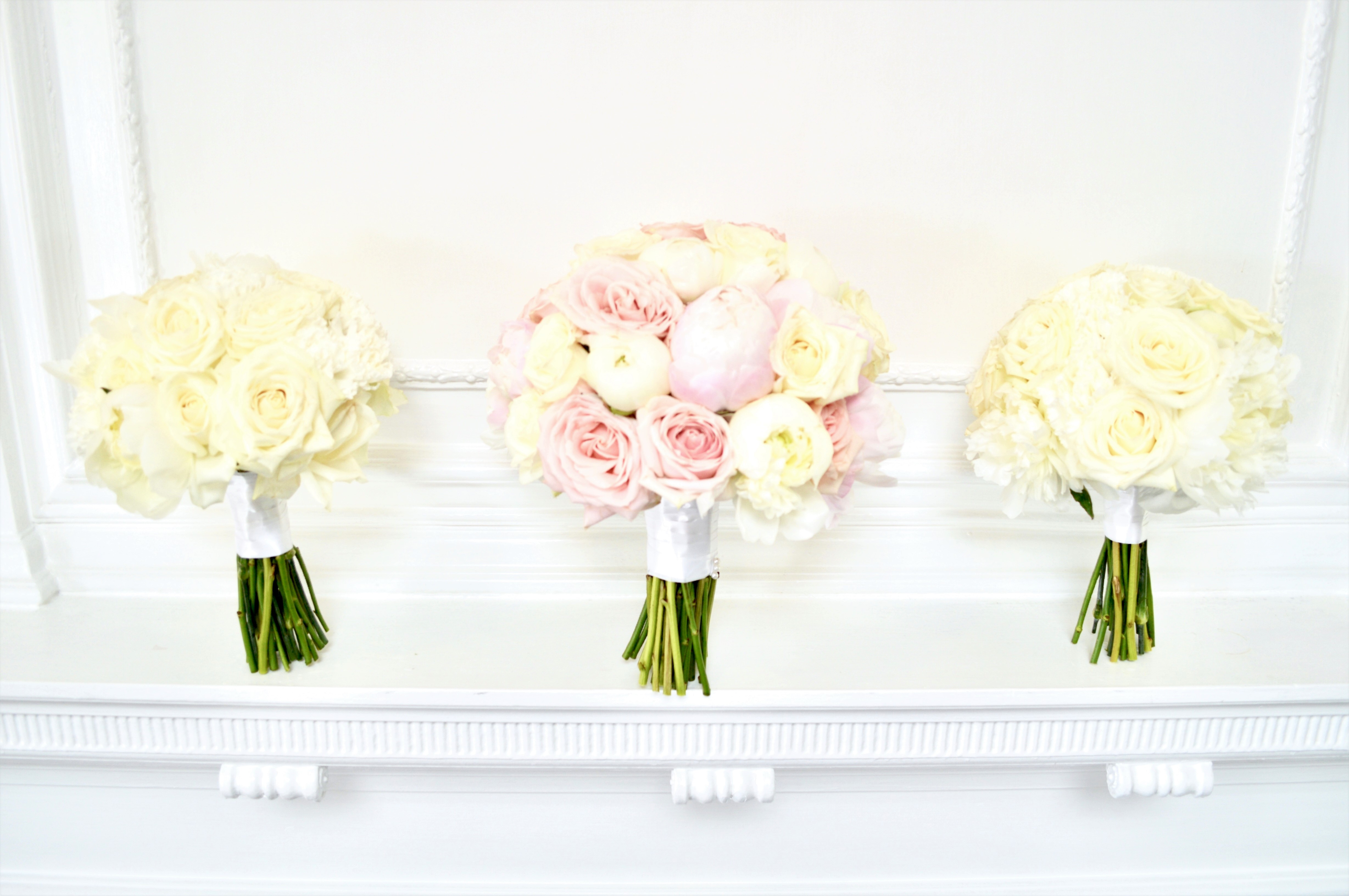 Luxury Blush Pink and White Wedding Flowers and Cake at Hunton Park Peony and Roses Bridal and Bridemaids Bouquets Cherie Kelly Cake London