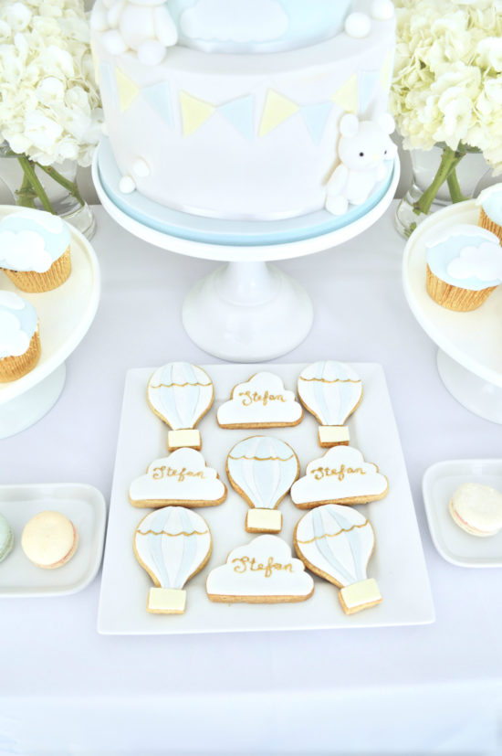 Blue, White and Gold Hot Air Balloon Christening Baby Shower Birthday Party Cake Table Cherie Kelly London
