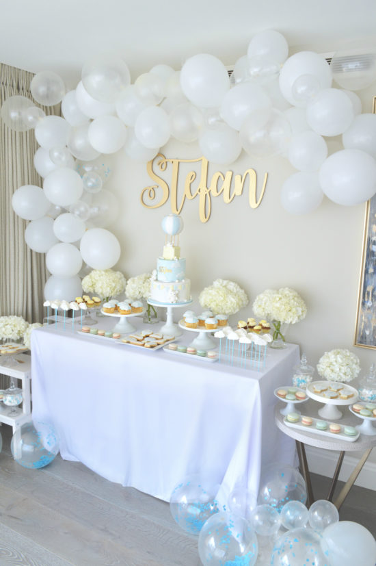 Blue White And Gold Hot Air Balloon Christening Party