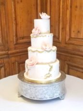 4 Tier blush pink and gold wedding cake with peony Hedsor House Cherie Kelly cakes London