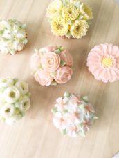 Korean buttercream flowers roses ranunculus and blossom cupcake cake Cherie Kelly cakes London