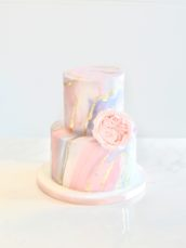 Pink, blue and gold marble patterned wedding birthday beautiful gender reveal cake Cherie Kelly London