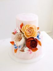 Pink marble patterned birthday wedding cake with sugar david austin roses peony hydrangeas Cherie Kelly cakes London