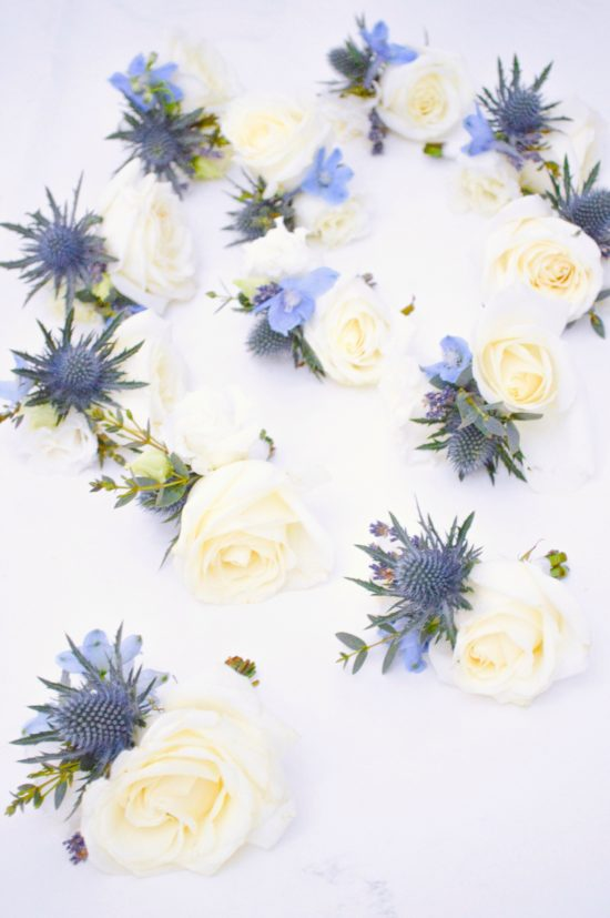 Natural garden rustic style spring pastel pink blue lilac boutonnieres buttonholes Cherie Kelly wedding flowers London