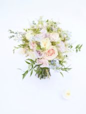 Natural garden rustic style spring pastel pink blue lilac bridal bouquet Cherie Kelly wedding flowers London