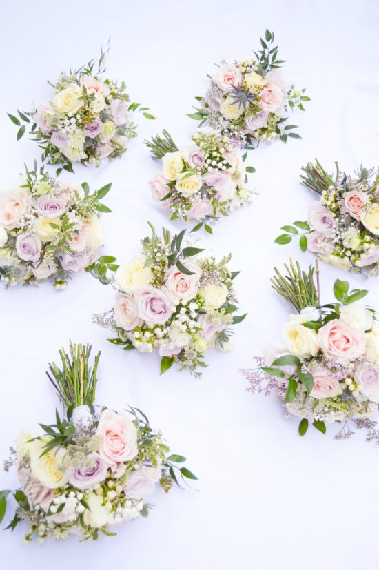 Natural garden rustic style spring pastel pink blue lilac bridal bridemaids bouquets Cherie Kelly wedding flowers London