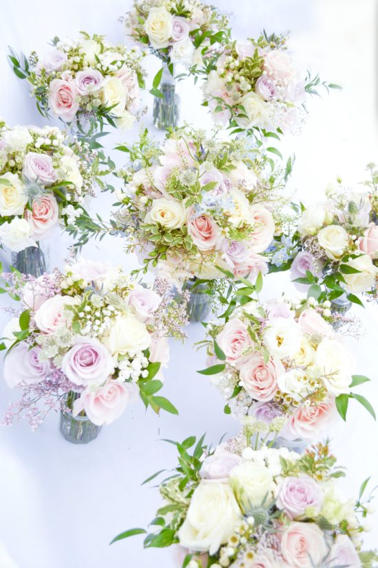 Natural garden rustic style spring pastel pink blue lilac bridal bridemaids handtie roses bouquets Cherie Kelly cakes wedding flowers London