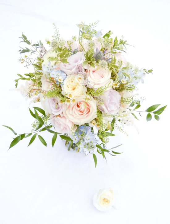 Natural garden rustic style spring pastel pink blue lilac bridal handtie bouquet Cherie Kelly wedding flowers London