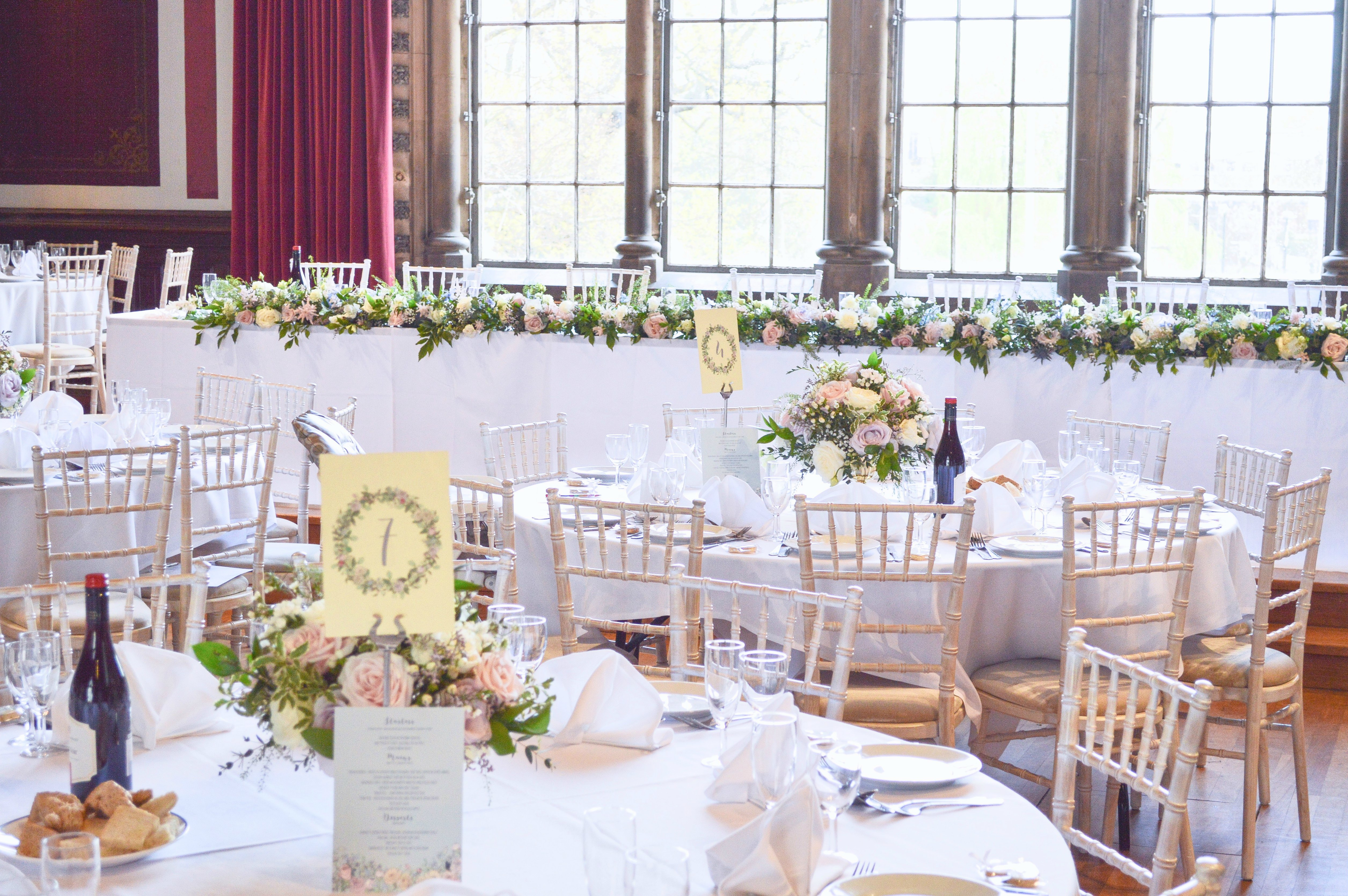 Natural garden rustic style spring pastel pink blue lilac head top table flower garland wedding reception centrepieces Dulwich College Cherie Kelly wedding flowers London 2