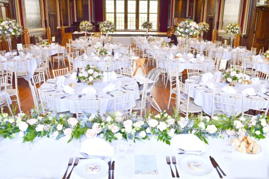 Natural garden rustic style spring pastel pink blue lilac head top table flower garland wedding reception floral arrangement centrepieces Dulwich College Cherie Kelly wedding flowers London