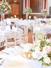 Natural garden rustic style spring pastel pink blue lilac high and low table centrepieces floral arrangement wedding reception Dulwich College Cherie Kelly wedding flowers London 4
