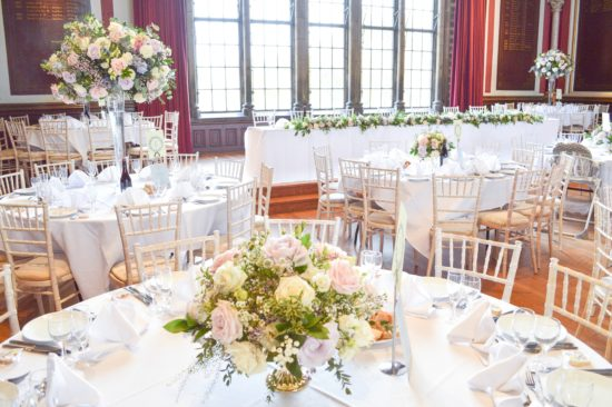 Natural garden rustic style spring pastel pink blue lilac high and low table centrepieces floral arrangement wedding reception Dulwich College Cherie Kelly wedding flowers London 6