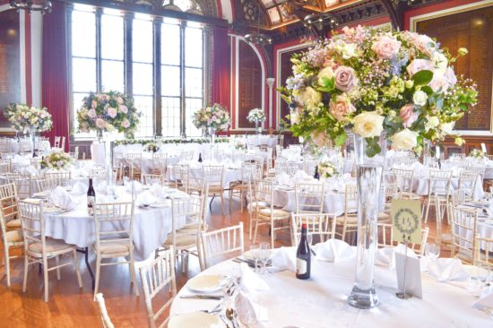 Natural garden rustic style spring pastel pink blue lilac high and low table centrepieces wedding reception Dulwich College Cherie Kelly wedding flowers London 1