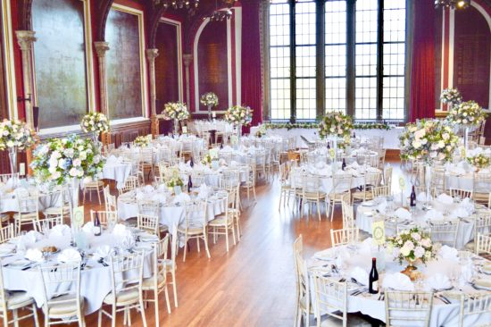 Natural garden rustic style spring pastel pink blue lilac high and low table centrepieces wedding reception Dulwich College Cherie Kelly wedding flowers London 8