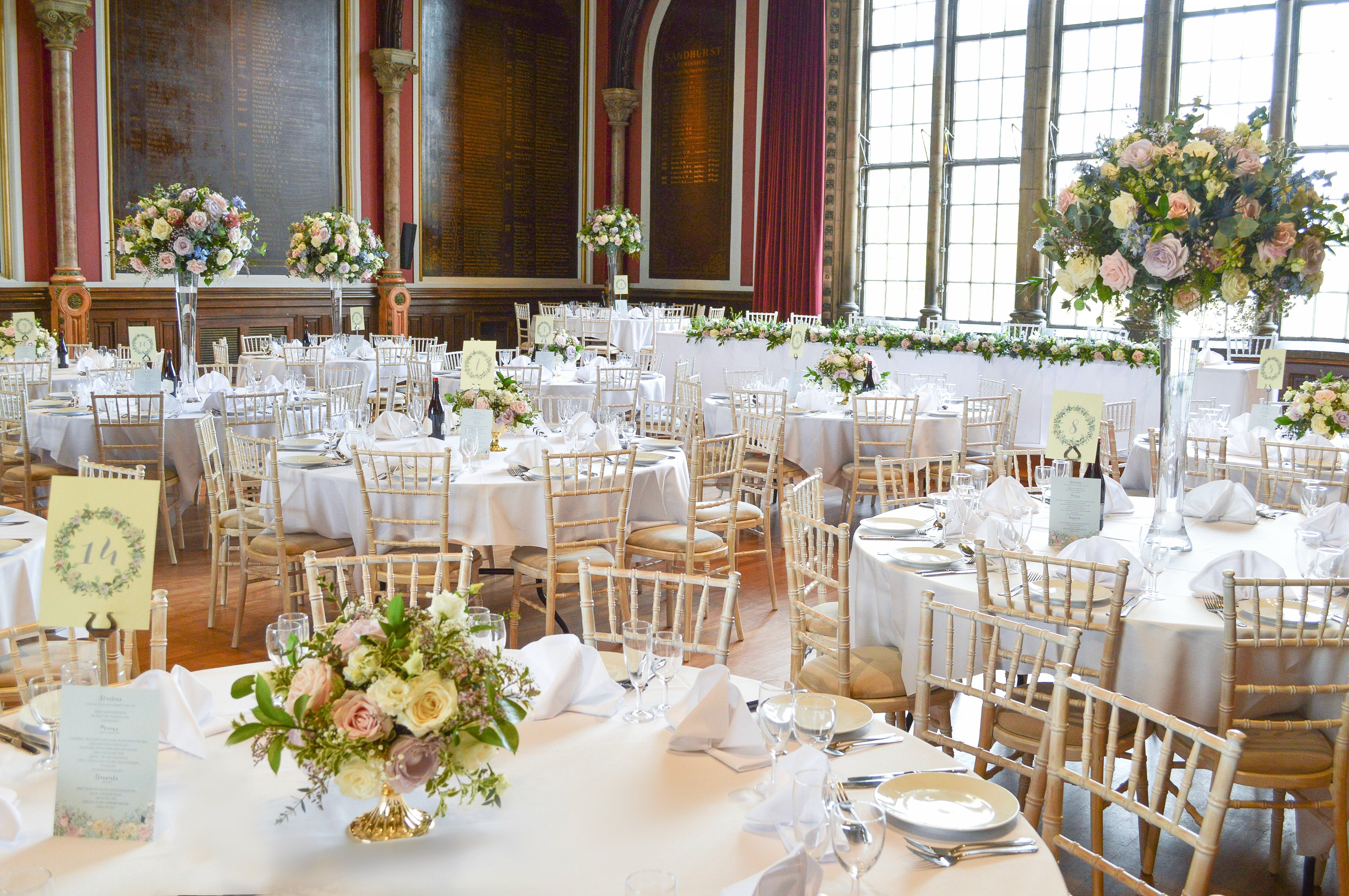 Natural garden rustic style spring pastel pink blue lilac high and low table centrepieces wedding reception Dulwich College Cherie Kelly wedding flowers London