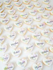 Watercolour cookies wedding favour calligraphy name placeholder Cherie Kelly cakes London