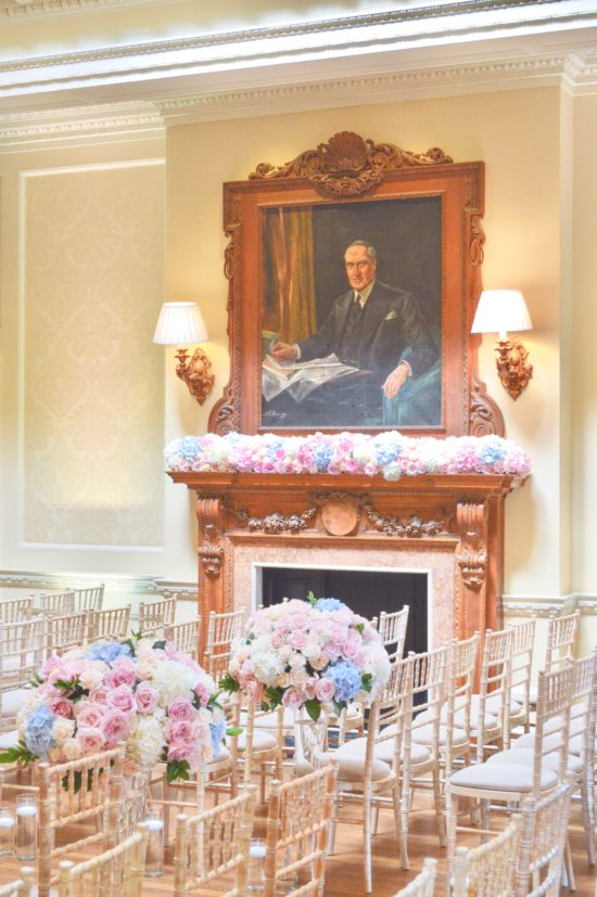 Dusty blue and pink wedding fireplace arrangements wedding ceremony aisle tall centrepieces Cherie Kelly cakes London Hedsor House (2)