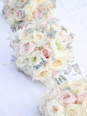 Dusty blue and pink wedding flowers bridal bridesmaids bouquet Cherie Kelly cakes London Hedsor House