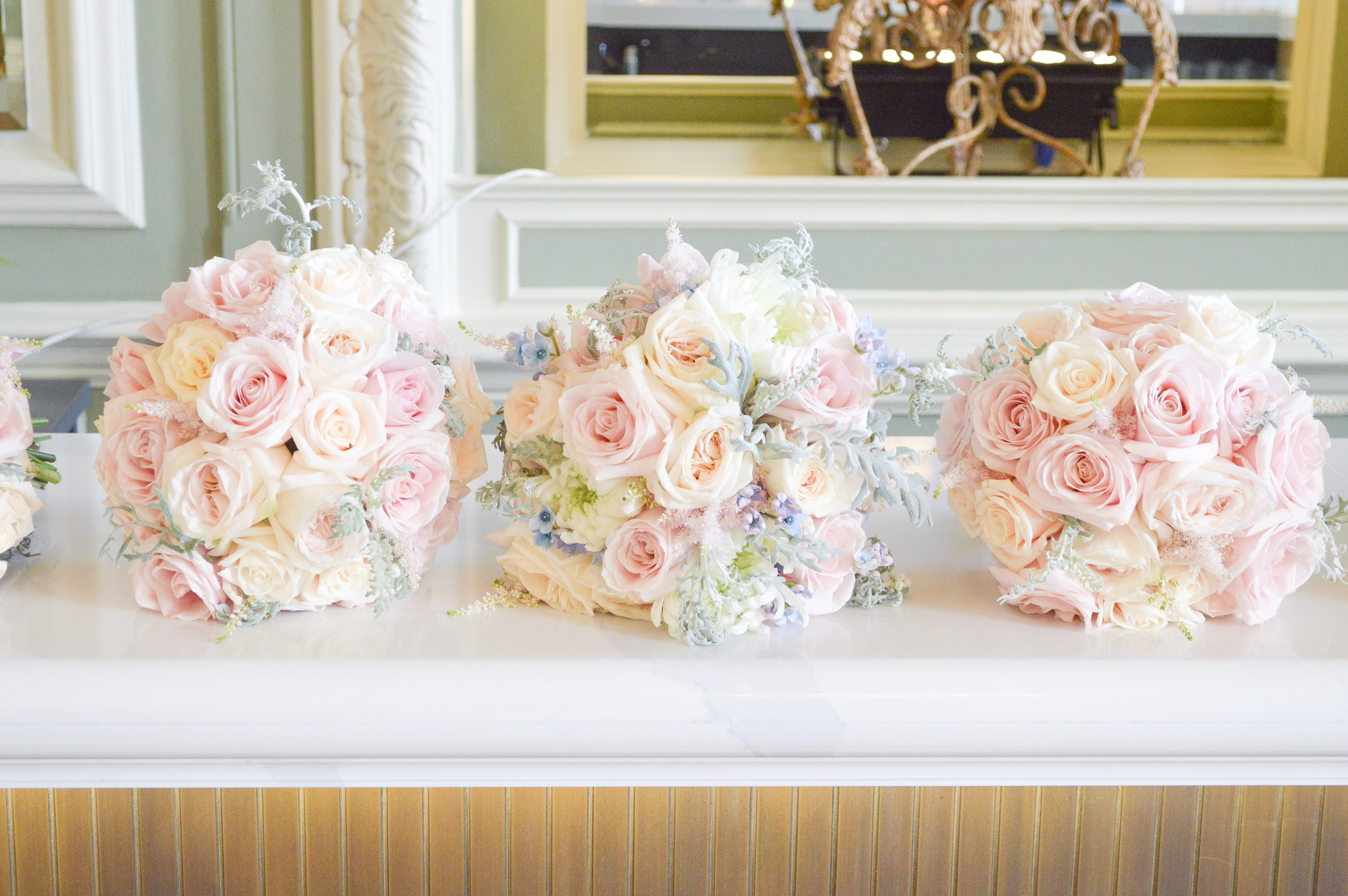 Dusty Blue And Pink Wedding Flowers Bridal Bridesmaids Bouquet Cherie Kelly Cakes London Hedsor House 2 Cherie Kelly