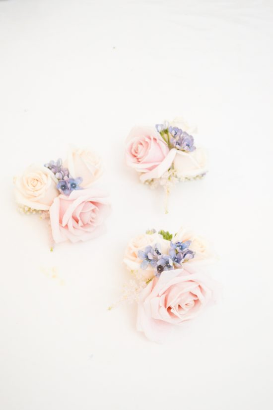 Dusty blue and pink wedding flowers corsages Cherie Kelly cakes London Hedsor House