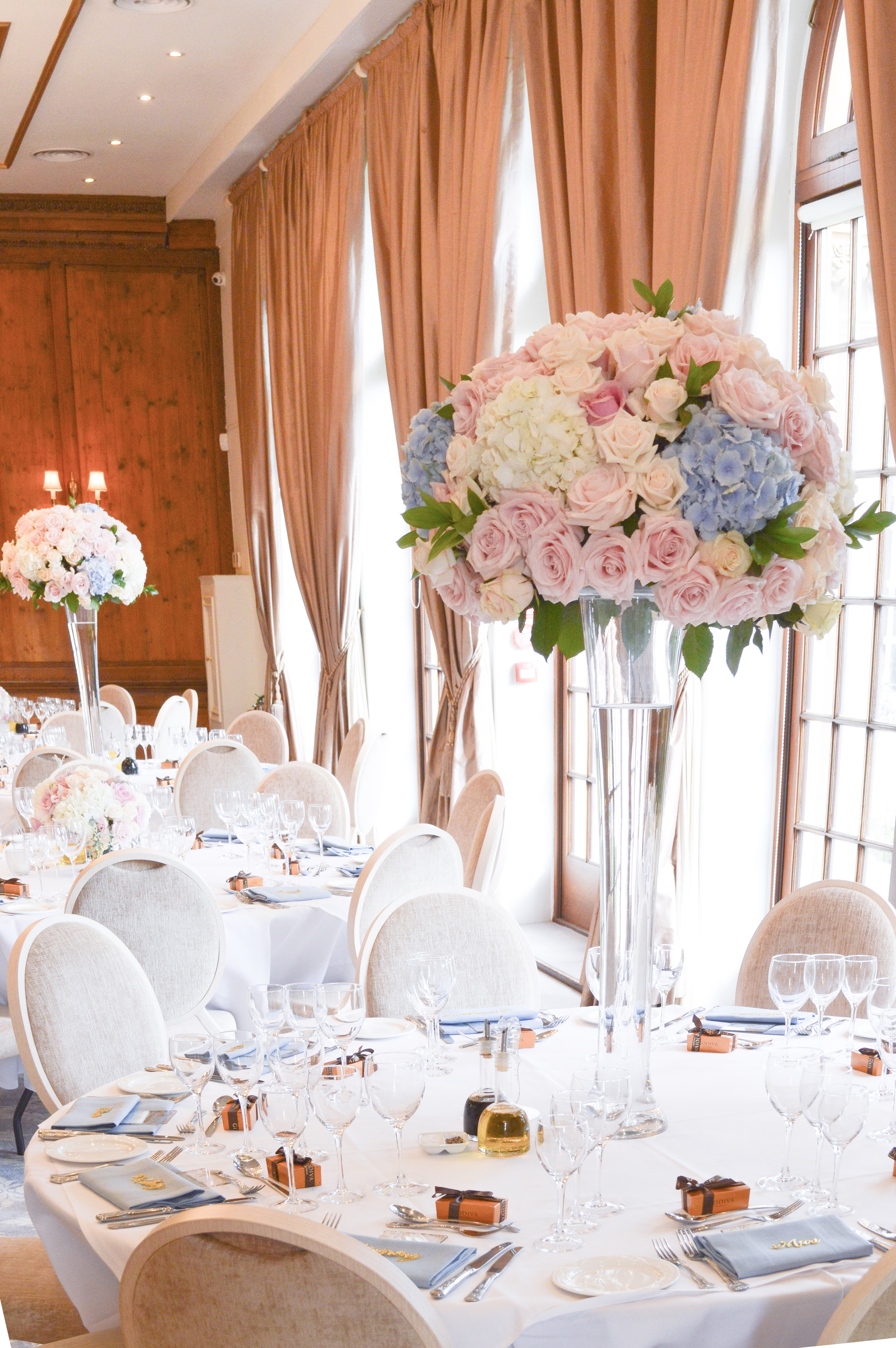 Dusty blue and pink wedding flowers reception tall centrepieces Cherie Kelly cakes London Hedsor House 2