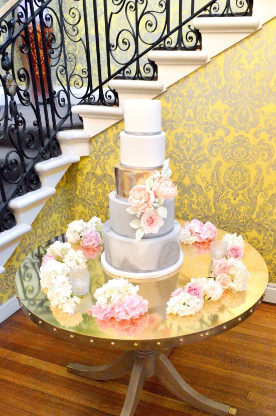 Marble pattern wedding cake with gold leaf tier Cherie Kelly cakes London Hedsor House 2