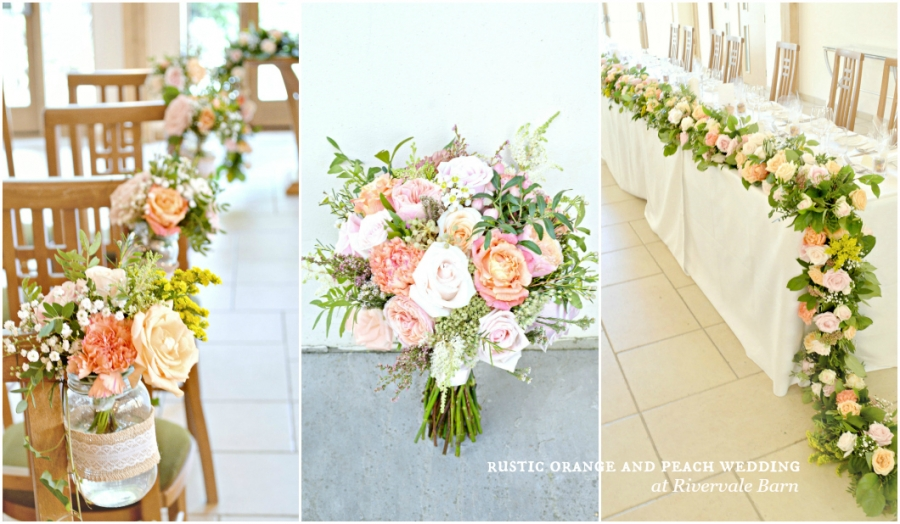 Rustic Orange and Peach Wedding Flowers and Cake at Rivervale Barn Hampshire Cherie Kelly