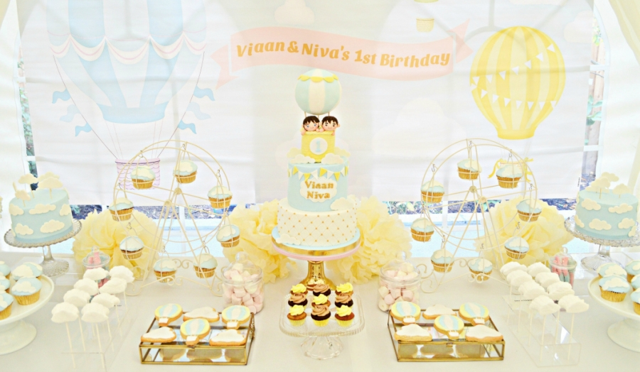 Light Blue, Yellow and Gold Hot Air Balloon Themed Twins First Birthday Party Cake Desserts Table and Decorations Cherie Kelly London