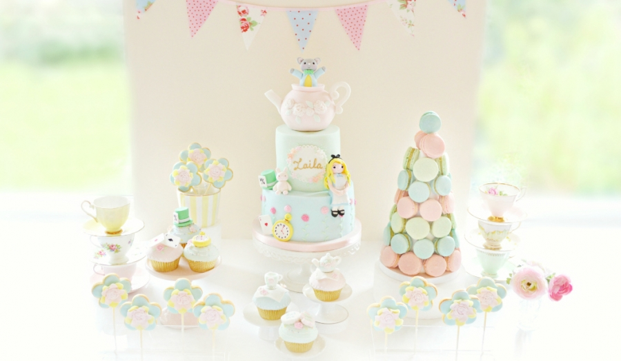 Alice in Wonderland Theme Cake, Pastel Macarons Tower, Cupcakes and Cookie Pops Birthday Party Cake Desserts Table Cherie Kelly London