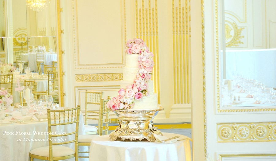 Fresh Flowers Roses Hydrangeas Sweet Pea Pink Wedding Cake at Mandarin Oriental Hyde Park Cherie Kelly London