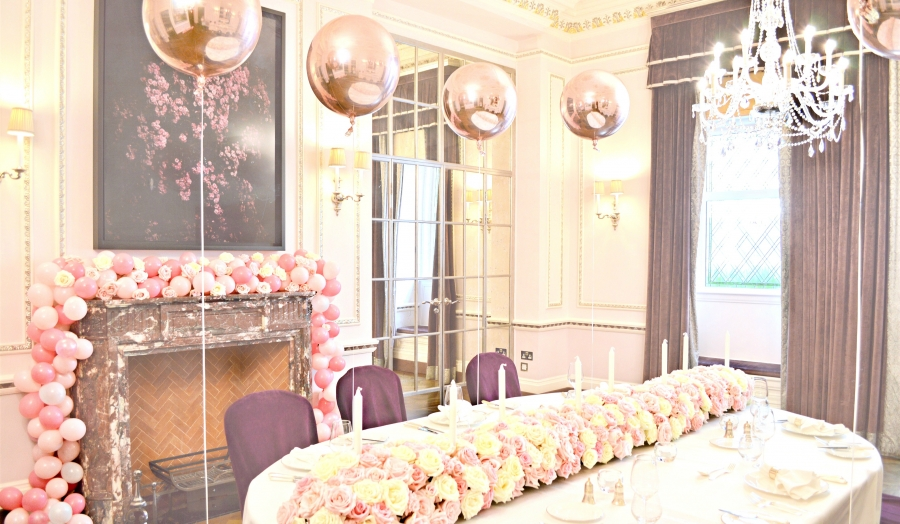 Pink, White and Rose Gold Themed Birthday Wedding Cake, Flower Arrangements and Balloon Garland at The Connaught London Cherie Kelly