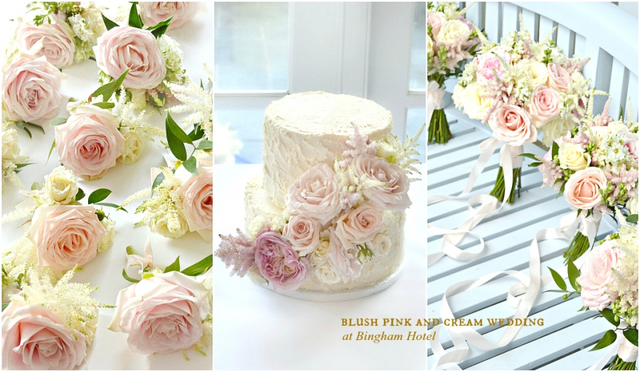 Blush Pink and Cream Wedding Flowers and Cake at Bingham Hotel Richmond Cherie Kelly London