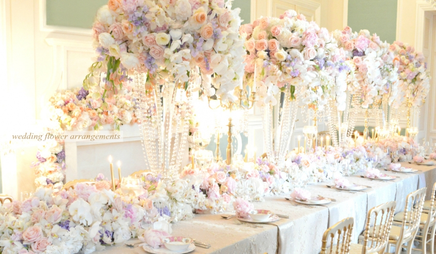 Wedding Flower Arrangements and Floral Table Runner Cherie Kelly London