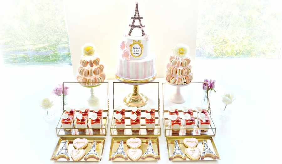 Pink and Gold Paris Eiffel Tower Themed Bridal Shower Cake Table London Cherie Kelly