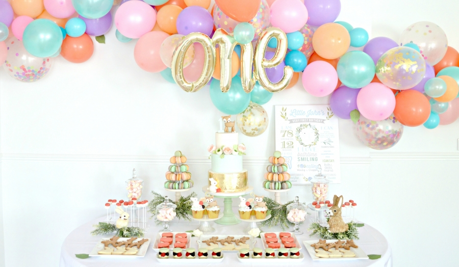 Peach, Mint Green and Gold Woodland Themed Deer and Bunny Rabbit Cake Table Balloon Arch Cherie Kelly London