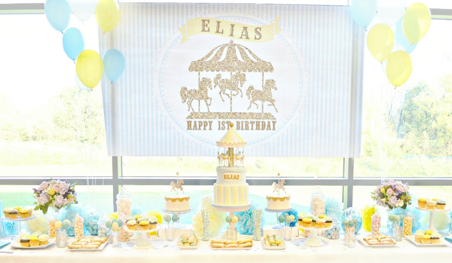 Merry Go Round Carousel themed First Birthday Party Cake, Candy and Dessert Table Decorations Cherie Kelly London