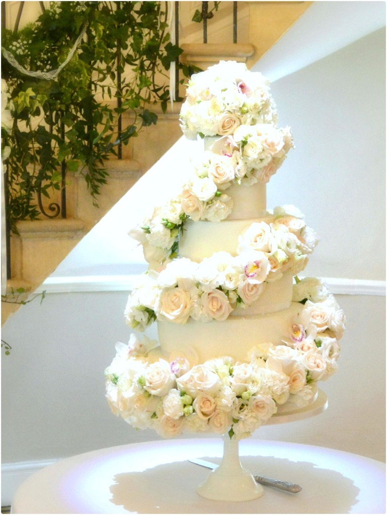 white rose wedding cakes eastington park manor house 6 tier ivory and orchids 27315
