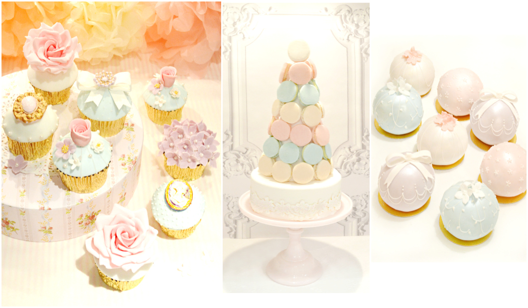 Beautiful Pastel Sugar Roses Flowers Bow Cupcakes Bauble Cakes Macarons Tower Cherie Kelly London