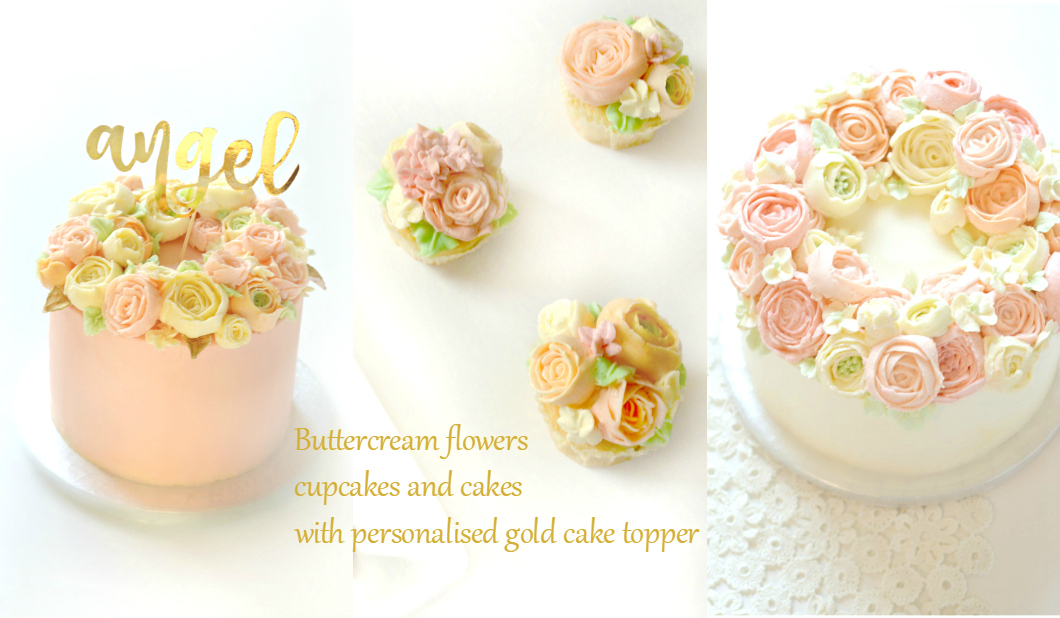 Cherie Kelly Buttercream Flowers Cakes and Cupcakes with custom calligraphy name gold cake topper London