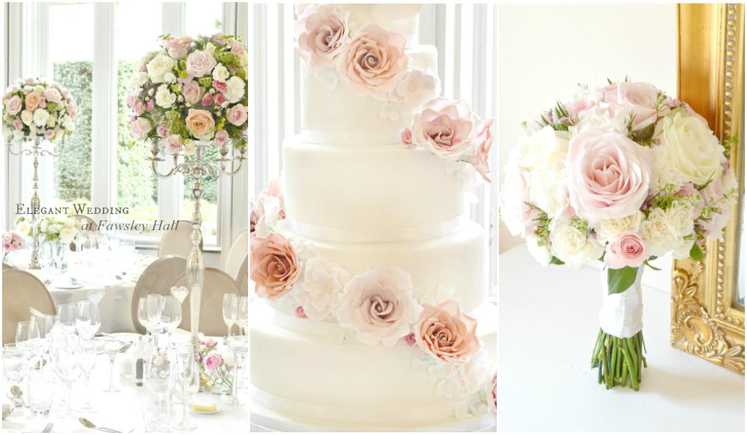 Cherie Kelly Fawsley Hall wedding candelabra flower arrangements amd wedding cake London