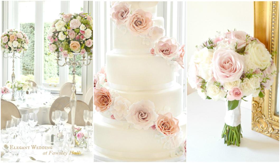 Cherie Kelly Fawsley Hall wedding candelabra flower arrangements amd wedding cake London Northampton