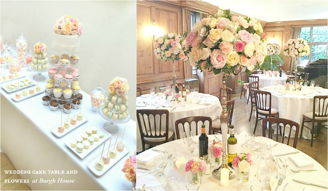 Coral, Peach and Pink Summer Wedding Flowers and Cake Desserts Table in Burgh House Cherie Kelly London